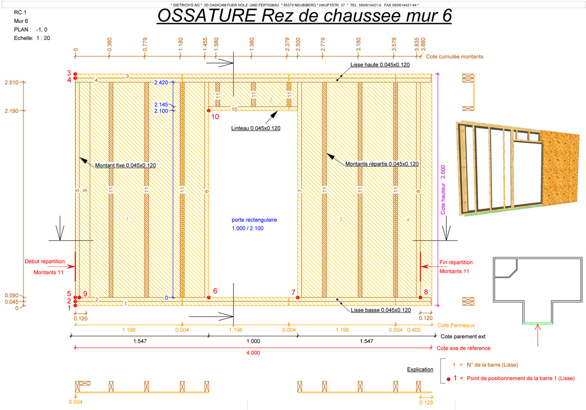 Schema construction maison ossature bois for Plan de construction table de jardin en bois